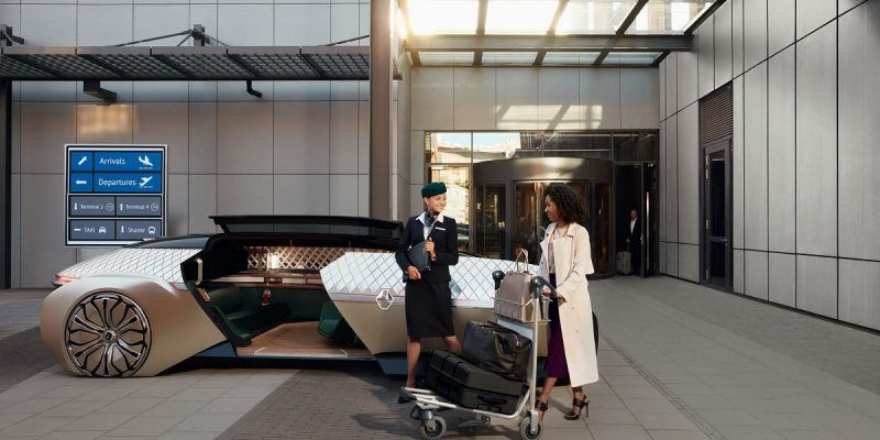 a car of the future shows a stewardess welcoming a woman with baggage aboard a self-driving car